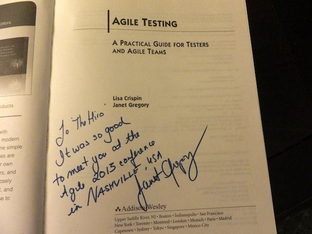 Agile2013_JanetGregoryさんのサイン