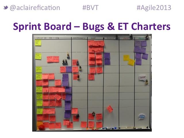 Agile2013_BigVisibleTesting_SprintBoard-Bugs&ExploratoryTestingCharters