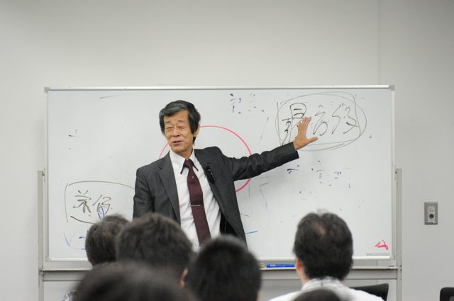 講演中の水野和敏さん(Agile Japan 2014 基調講演)